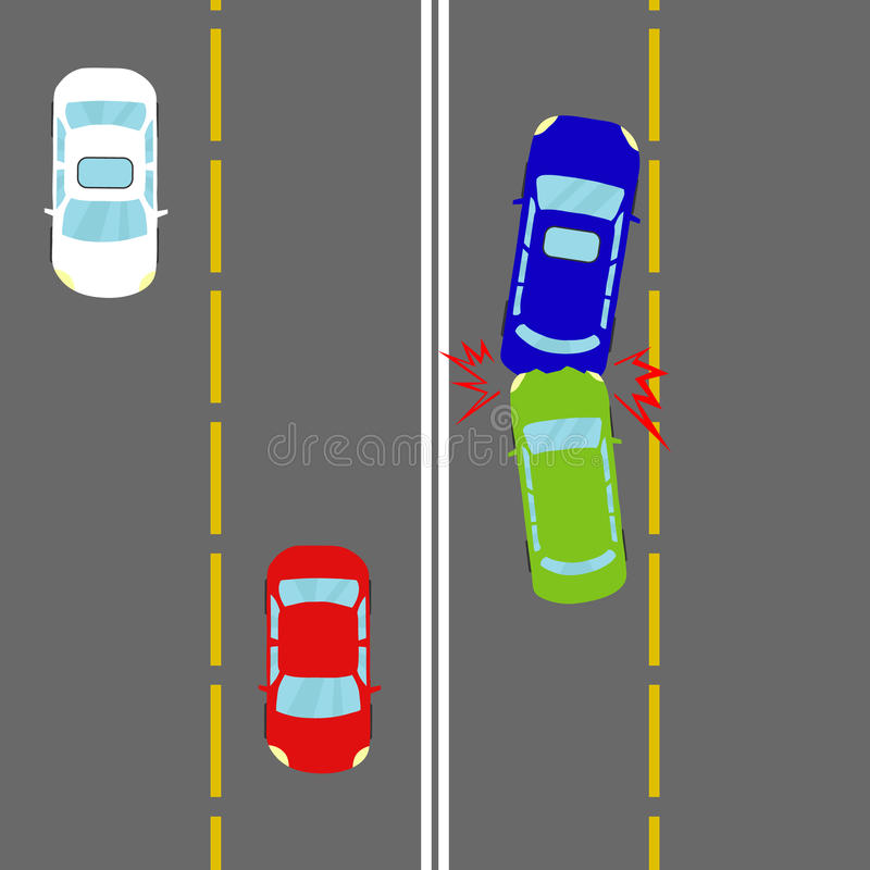 Un accident de voiture, un accident sur la route illustration stock