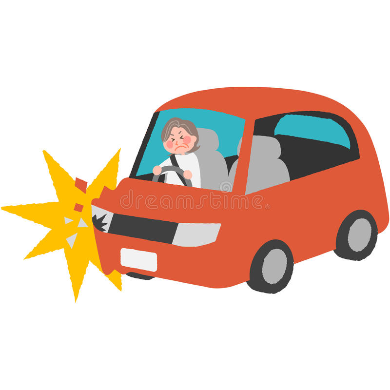 Un accidente de tráfico del conductor mayor libre illustration
