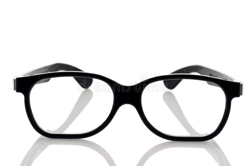 Un accoppiamento dei vetri nerdy incorniciati neri dell'occhio fotografie stock