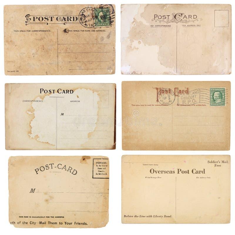 Un'accumulazione di sei cartoline dell'annata fotografia stock libera da diritti