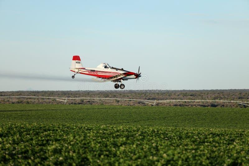 Un aereo di Crop Dusting arriva in basso per un pass di irrorazione la mattina presto immagini stock libere da diritti