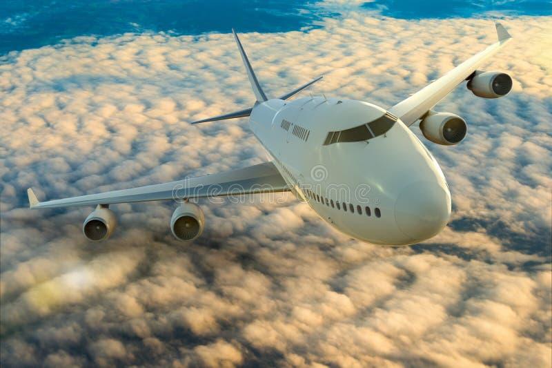 Un aeroplano commerciale sul volo sopra le nuvole illustrazione di stock