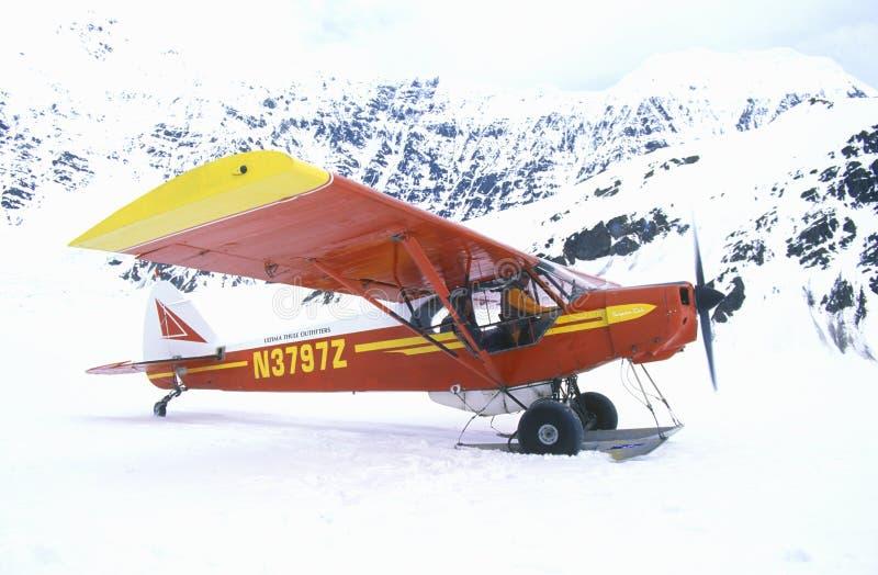 Un aeroplano de Piper Bush en el St Elias National Park y coto, Alaska de Wrangell fotografía de archivo