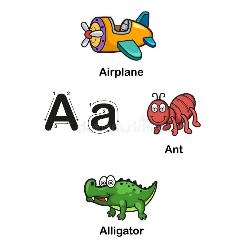 Un-aeroplano della lettera di alfabeto, formica, illustrazione dell'alligatore royalty illustrazione gratis