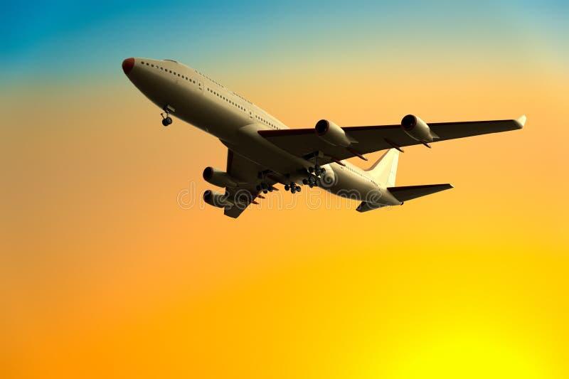 Un aeroplano saca/aterrizaje ilustración del vector