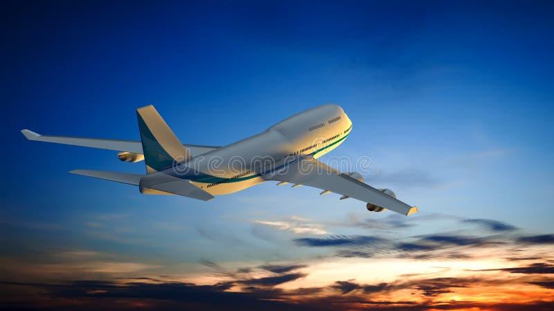 un aeroplano y el cielo de la puesta del sol libre illustration