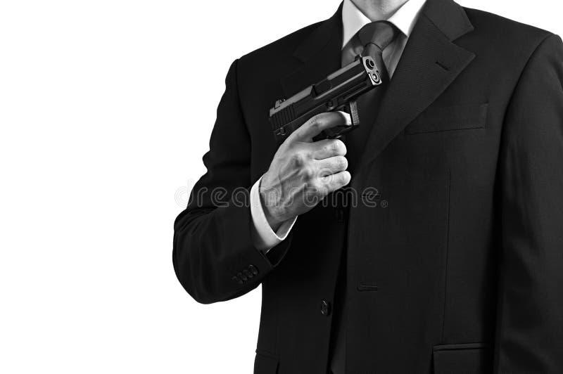 Agente segreto della spia contro bianco fotografie stock