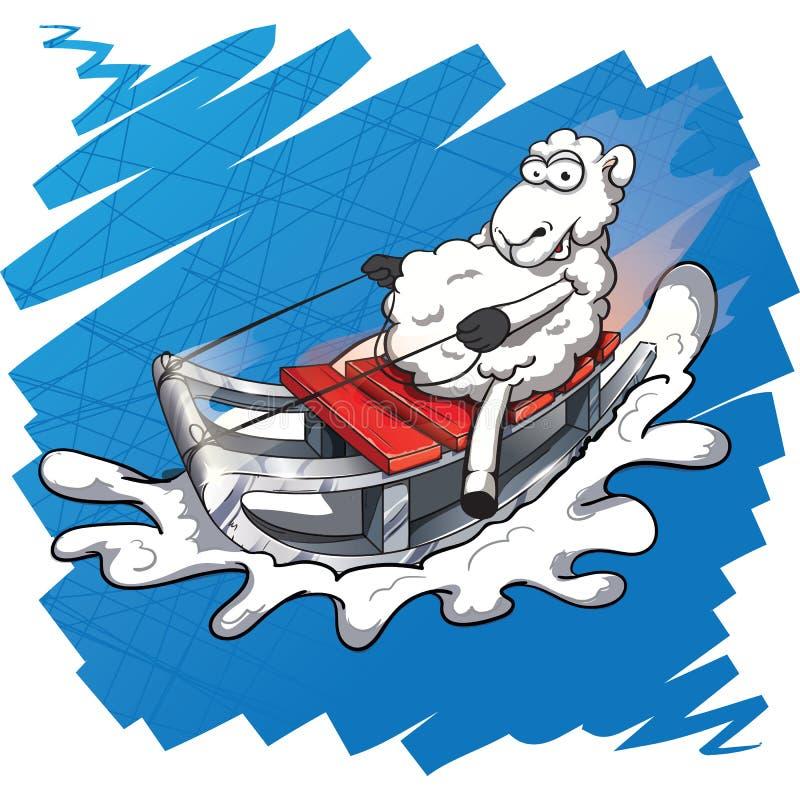 Un agneau monte sur un traîneau illustration de vecteur