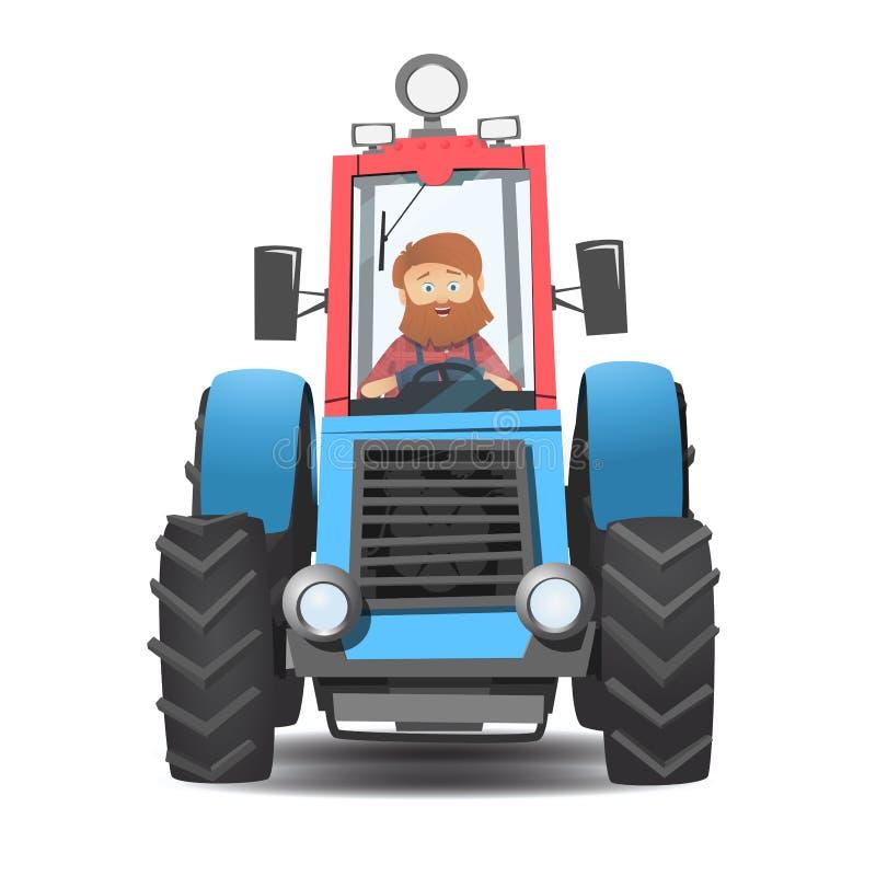 Un agricoltore barbuto in un trattore illustrazione vettoriale