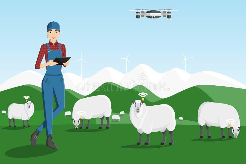 Un agriculteur avec un comprimé d'ordinateur illustration de vecteur