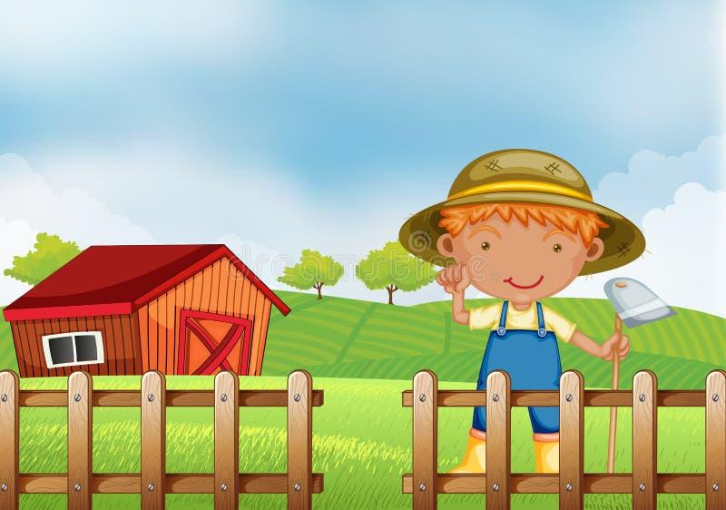 Un agriculteur tenant une houe à l'intérieur de la barrière en bois avec la grange illustration de vecteur