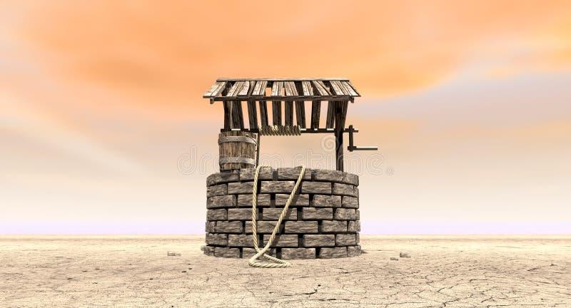 El desear bien con el cubo de madera en un paisaje estéril foto de archivo