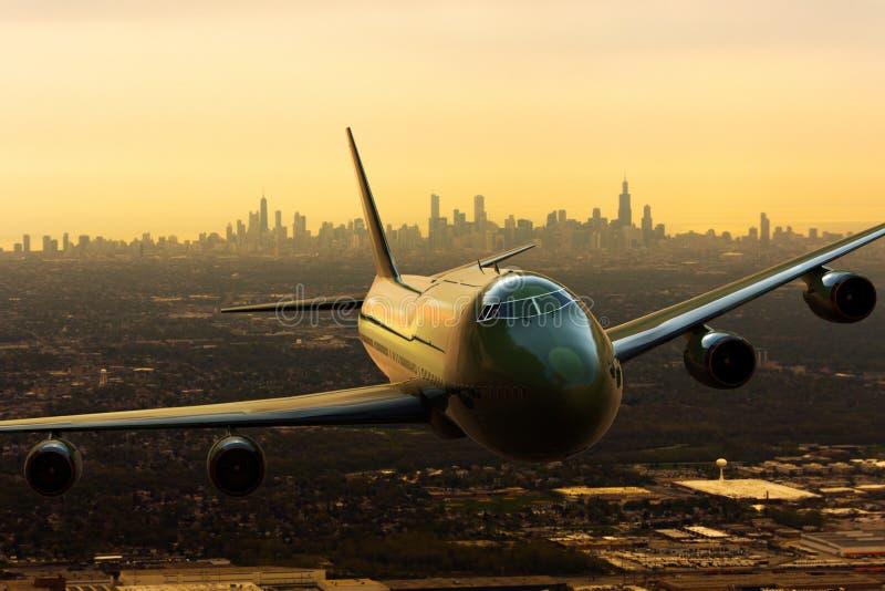 Un airplena comercial que sale de Chicago, los E.E.U.U. stock de ilustración