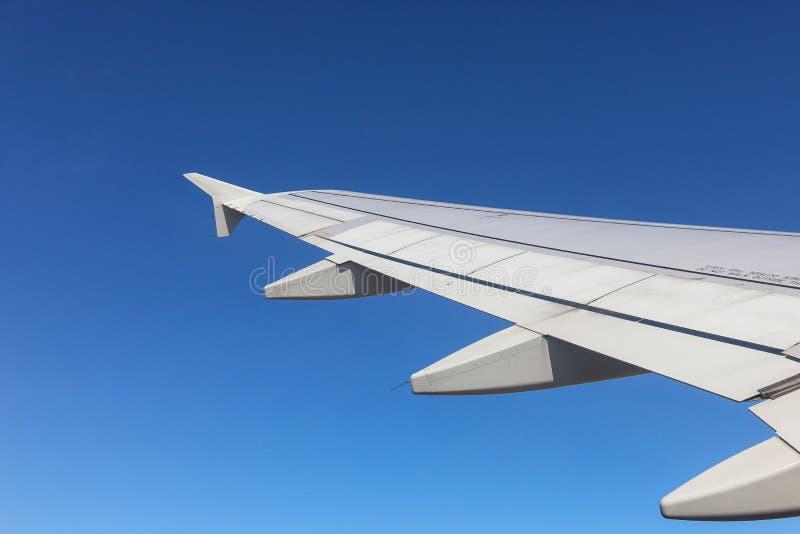 Un ala de un aeroplano fotografía de archivo