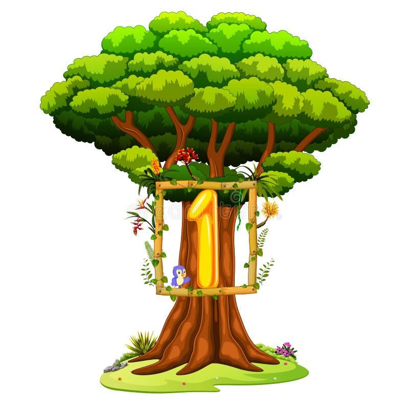 Un albero con un numero uno dipende un fondo bianco illustrazione di stock
