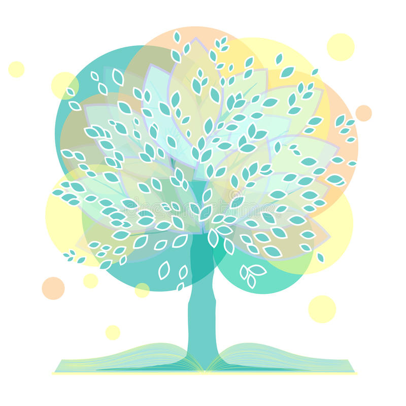 Un albero con un libro illustrazione vettoriale