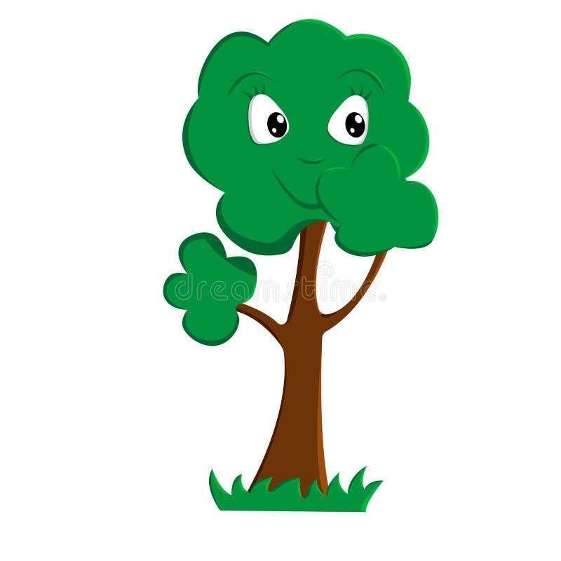 Un albero del fumetto sorride, chiudendo la sua bocca con la sua palma fotografie stock libere da diritti