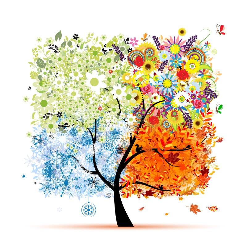 Un albero di quattro stagioni royalty illustrazione gratis