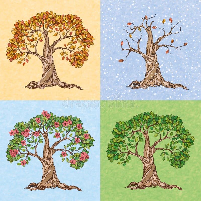Un albero di quattro stagioni illustrazione di stock