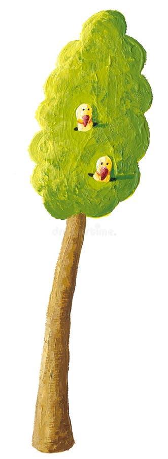 Un albero e due uccelli royalty illustrazione gratis