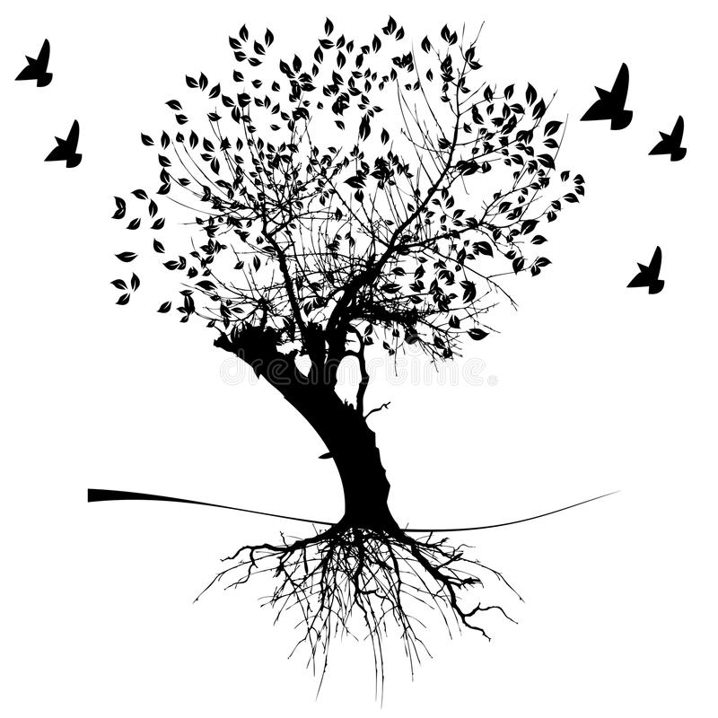 Un albero e radici illustrazione di stock