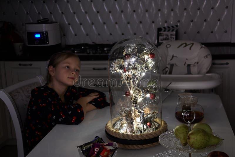 Un albero magico sotto una cupola di vetro immagini stock
