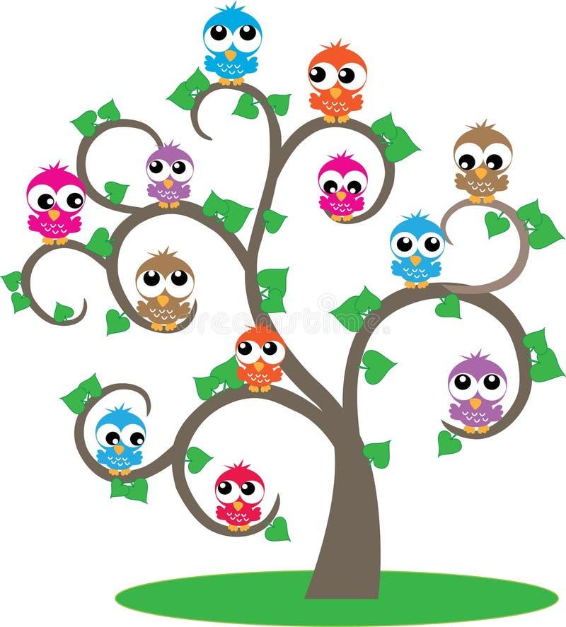 Un albero in pieno dei gufi variopinti illustrazione di stock