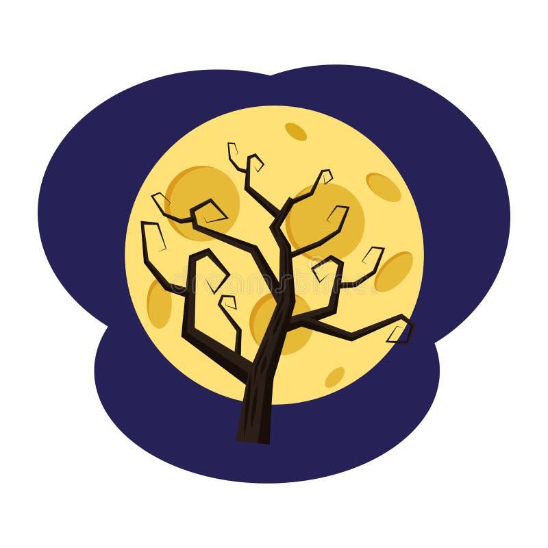 Un albero senza foglie contro lo sfondo della luna piena, festa Halloween, attributo, icona, vettore, illustrazione illustrazione vettoriale