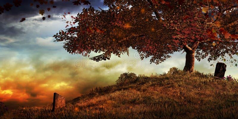 Un albero su una collina in autunno illustrazione di stock