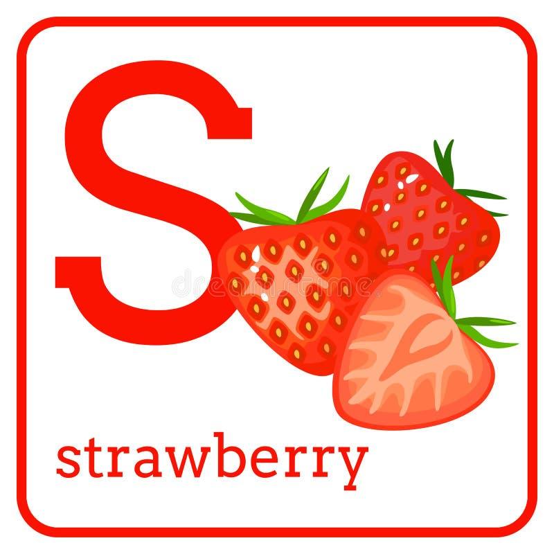Un alfabeto con i frutti svegli, fragola della lettera S illustrazione vettoriale