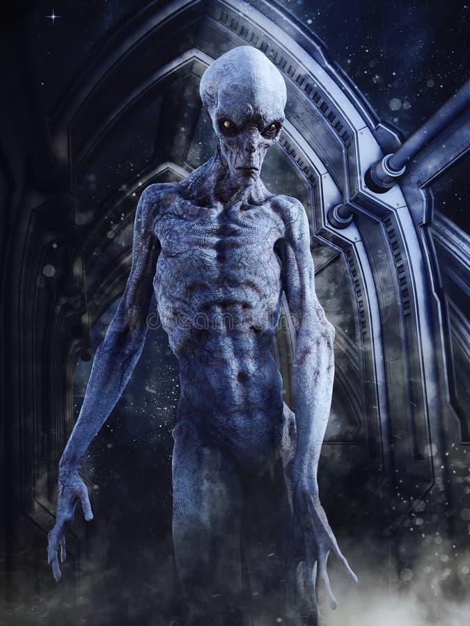 Un alieno arrabbiato che esce da una nave spaziale royalty illustrazione gratis