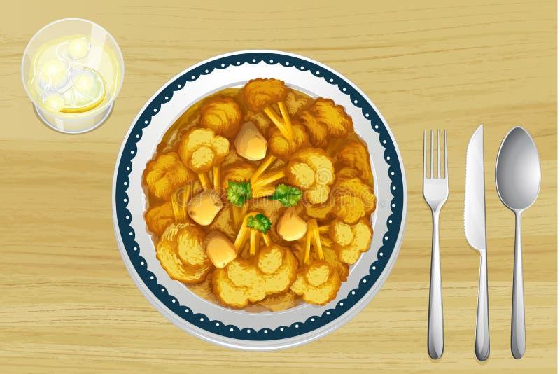 Un alimento in un piatto illustrazione di stock