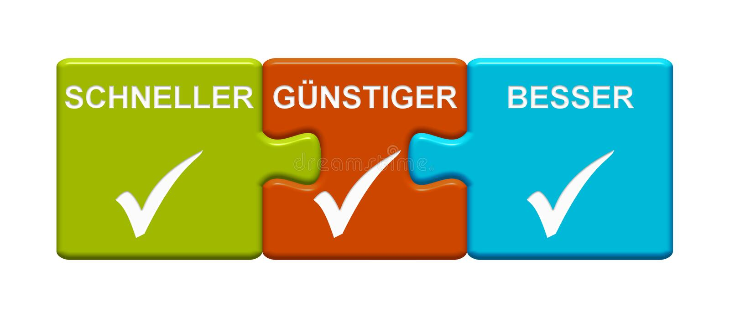 Un Allemand plus rapide, meilleur marché et meilleur de représentation de 3 boutons de puzzle illustration libre de droits