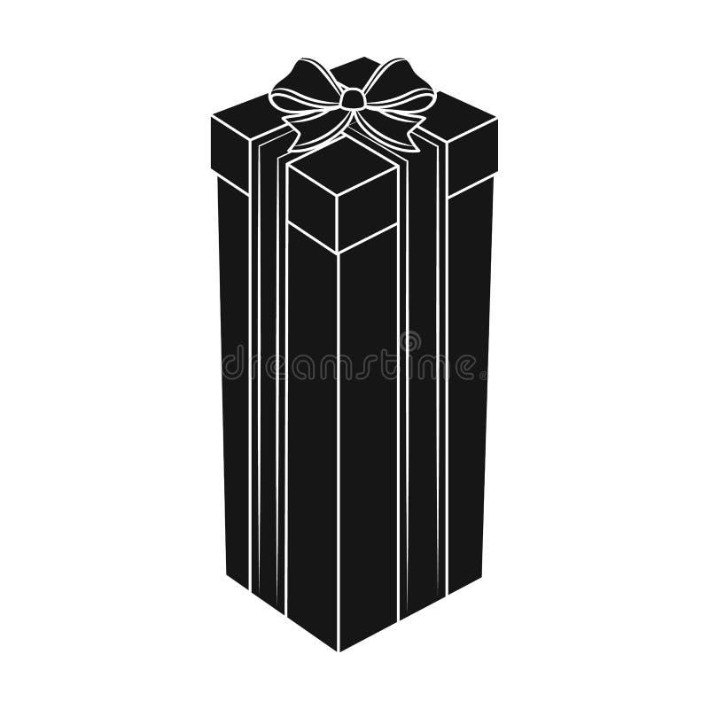 Un alto contenitore di regalo, per un alto e regalo stretto I regali ed i certificati scelgono l'icona nelle azione nere di simbo royalty illustrazione gratis