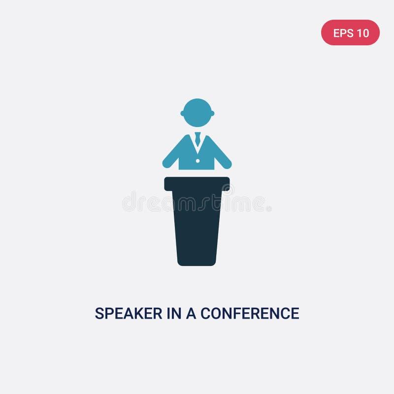 Un altoparlante di due colori in un'icona di vettore di conferenza dal concetto della gente l'altoparlante blu isolato in un simb illustrazione di stock
