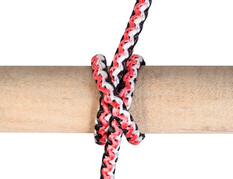 Un altro lato del nodo del nodo barcaiolo legato sulla corda fotografia stock
