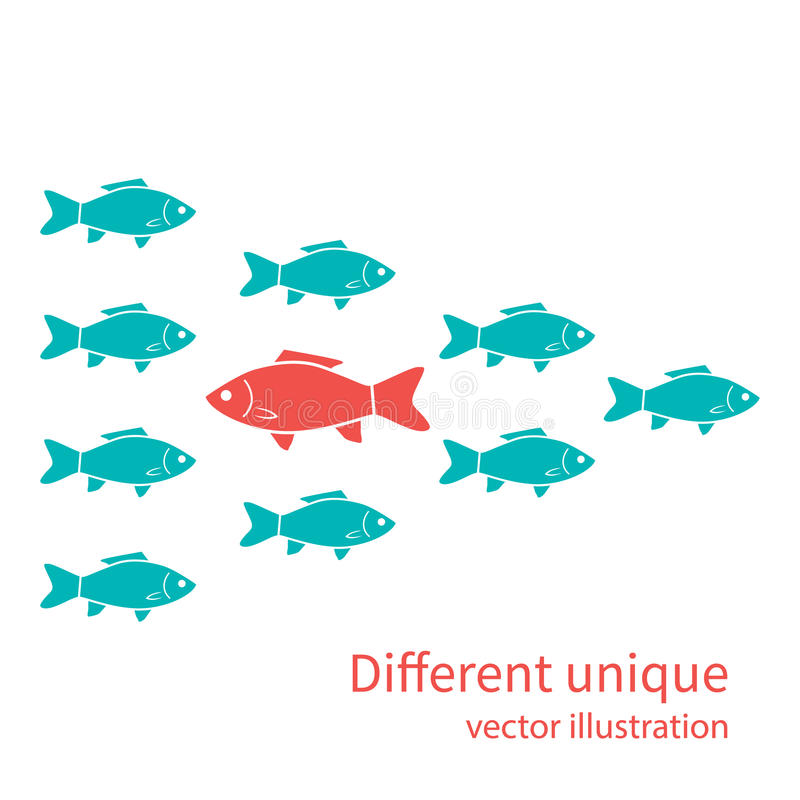 Un altro unici Pesce rosso dentro di bianco illustrazione di stock