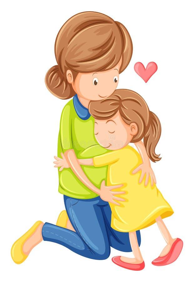 Un amour d'une mère et d'une fille illustration de vecteur