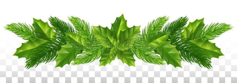 Un'ampia ghirlanda dei rami del pino e delle foglie dell'agrifoglio Natale nuovo illustrazione di stock