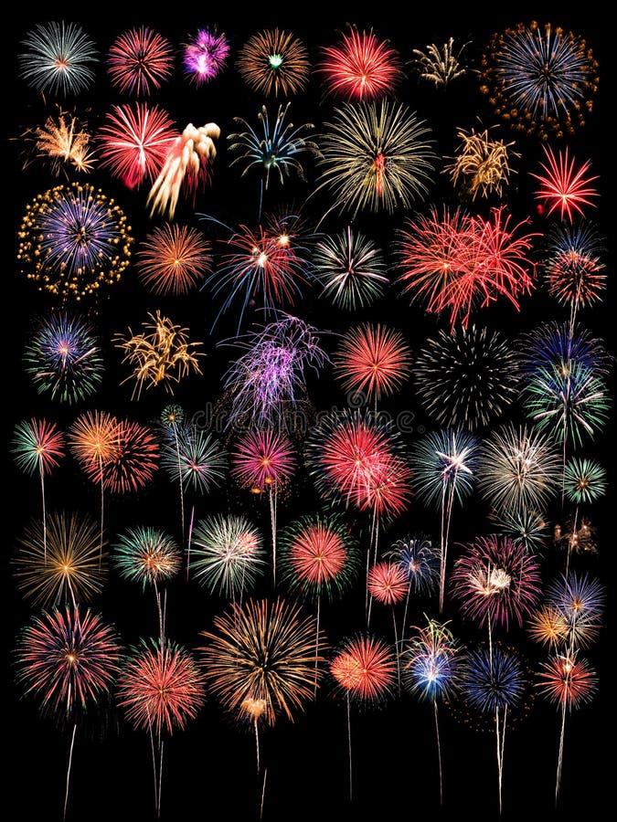 Un'ampia raccolta di 48 fuochi d'artificio immagine stock libera da diritti