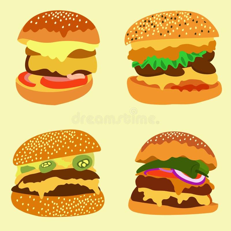 Un'ampia varietà di hamburger deliziosi fotografia stock