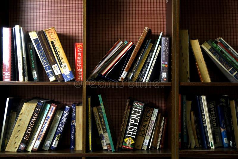 Un'ampia varietà di libri sugli scaffali di legno dentro una biblioteca fotografia stock libera da diritti