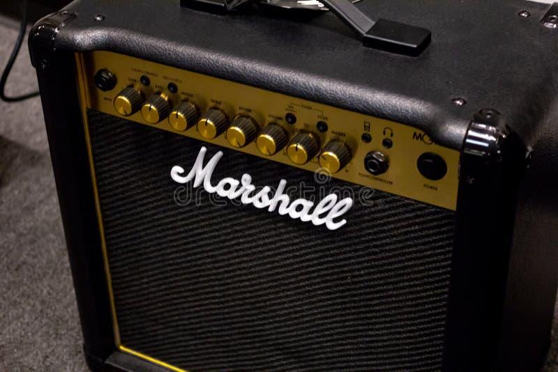 Un amplificateur de marque de Marshall photographie stock libre de droits