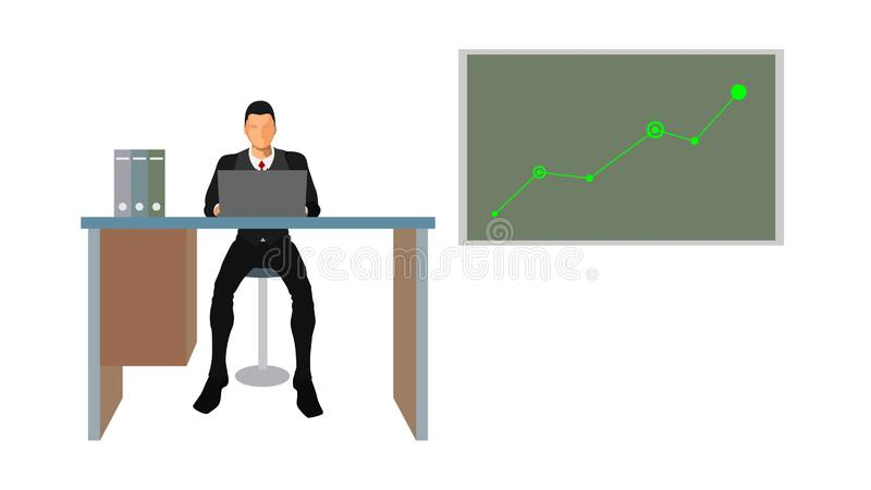 Un analyste d'affaires montre un diagramme de tendance illustration stock