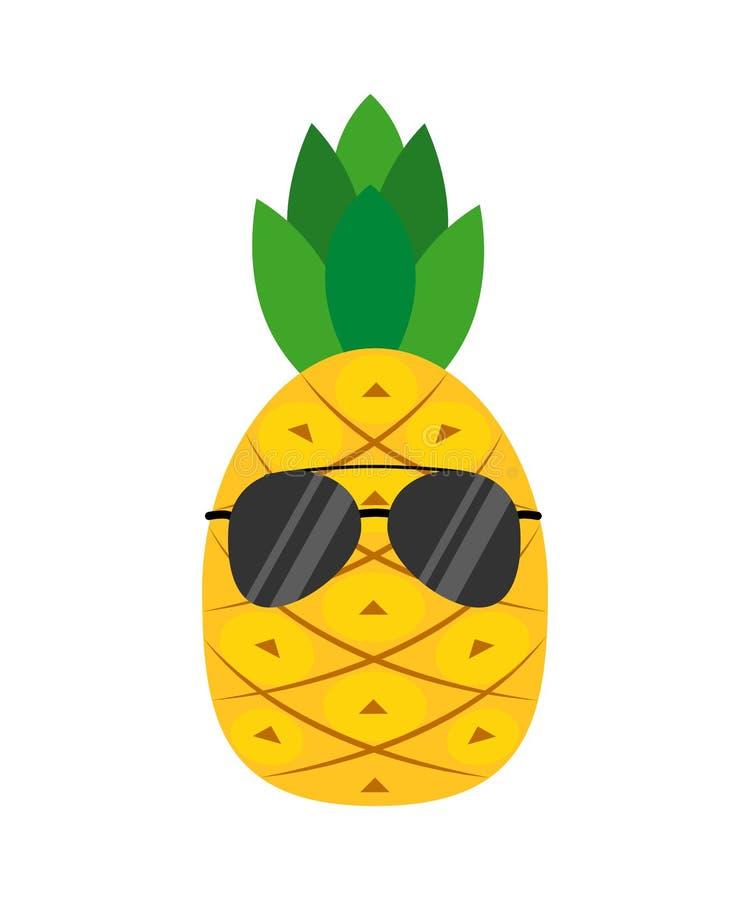 Un ananas del fumetto in vetri Stile piano Illustrazione di vettore illustrazione di stock