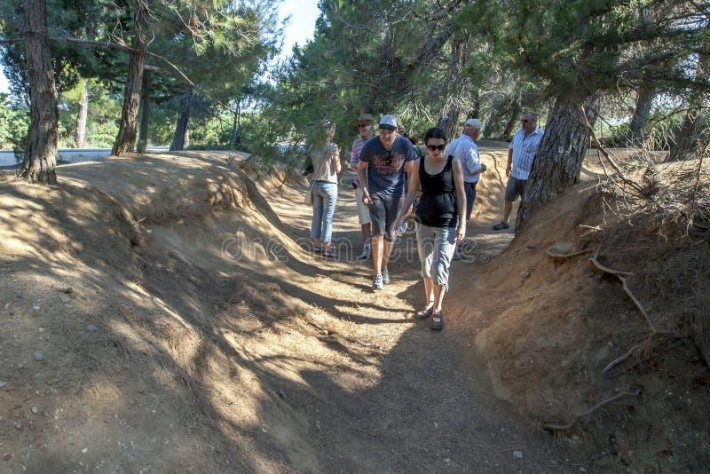 Un ancien fossé de Première Guerre Mondiale chez Gallipoli en Turquie photos libres de droits