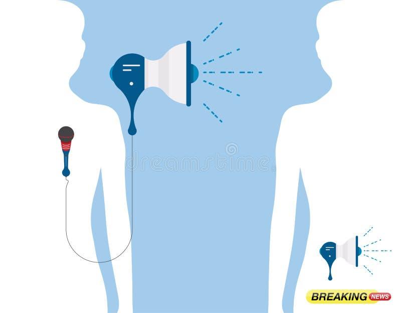 Un ancla habla en un micrófono con un altavoz Sistema de los elementos para las noticias de última hora Ejemplo plano EPS 10 libre illustration
