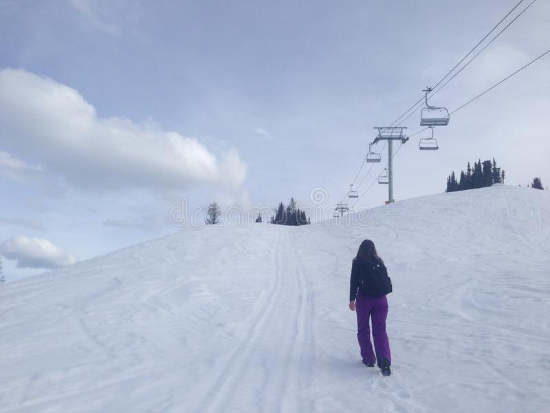 Un andventure su neve immagini stock