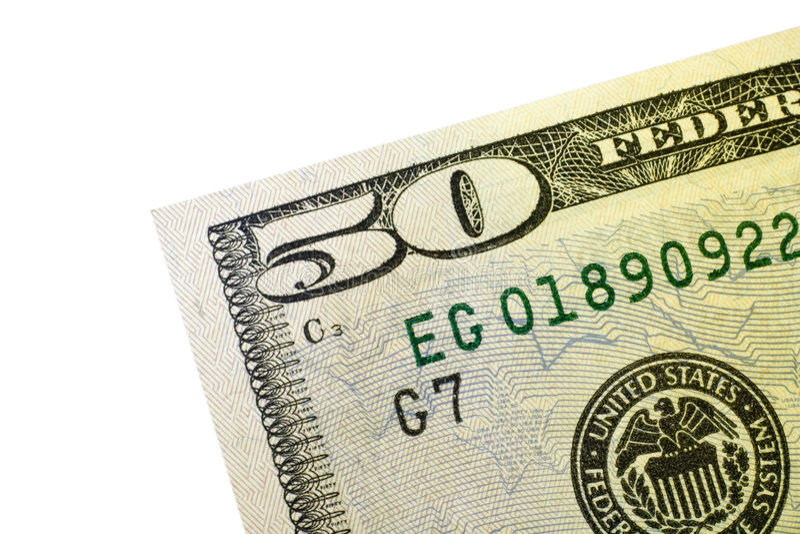 Un angolo di cinquanta dollari Bill immagini stock