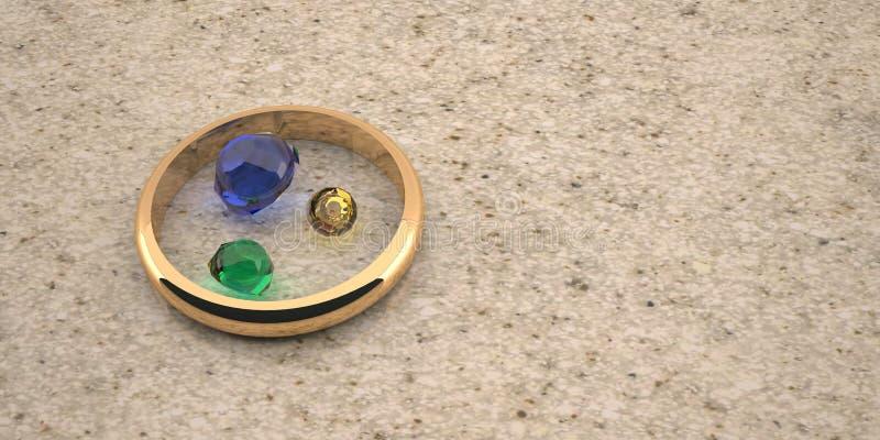 Un anneau d'or au milieu des pierres chères, sur une table en pierre est un bon fond pour des mariages et des bijoux illustration de vecteur